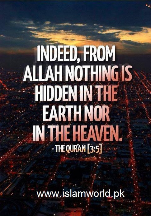 From Allah nothing is hidden in Earth